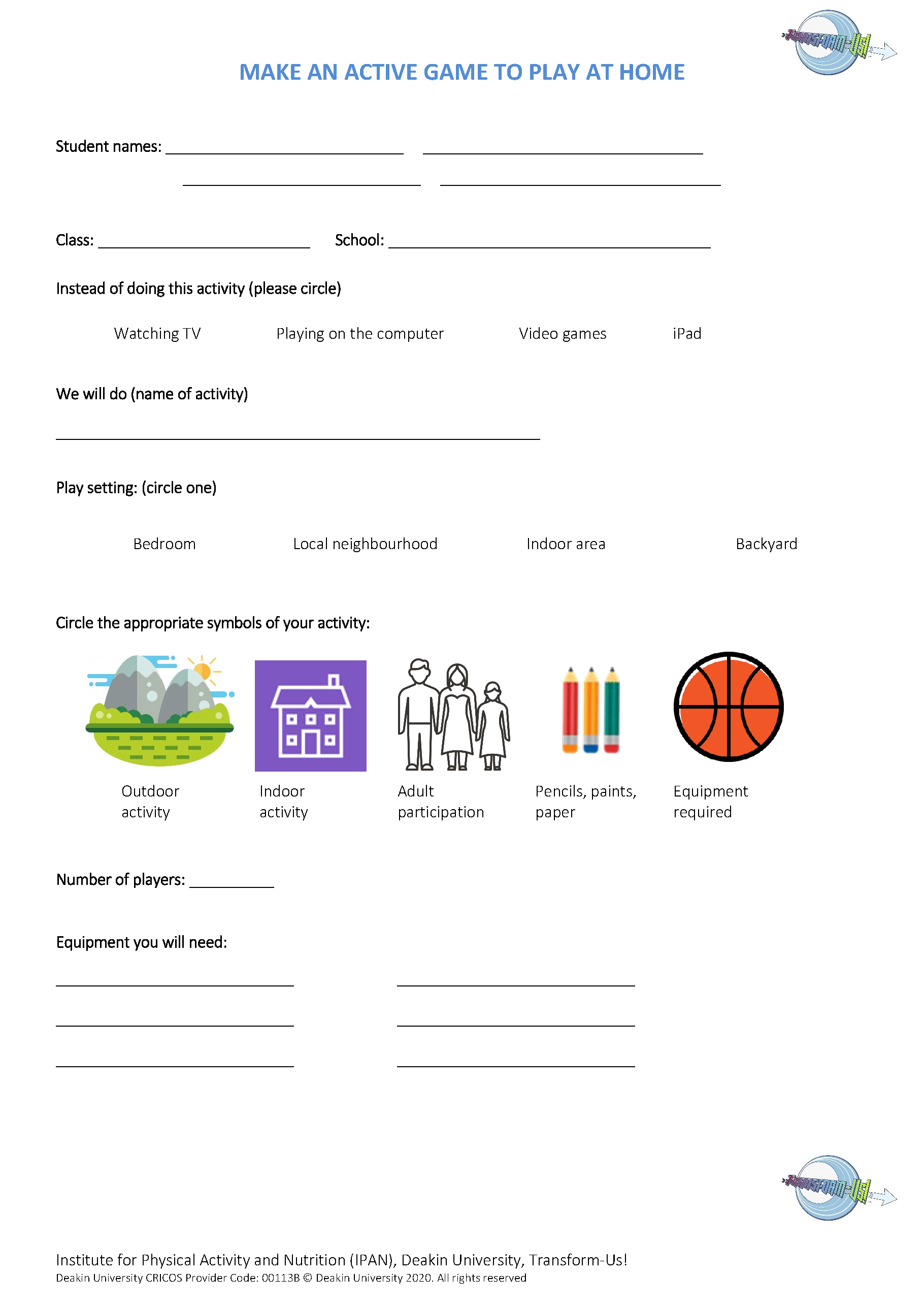 Topic 4 Make an active game to play at home worksheet_CR