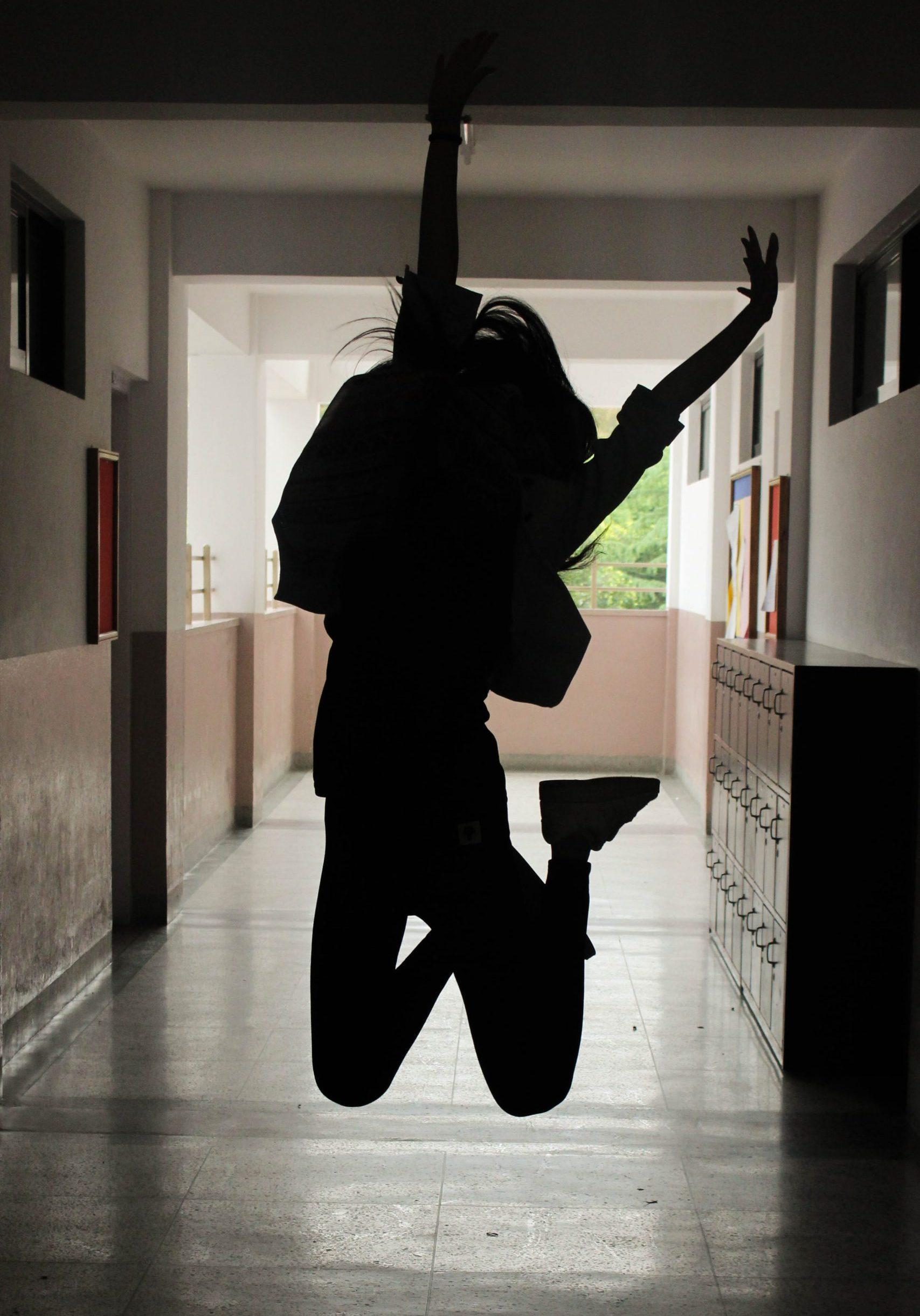 hallway girl jumping